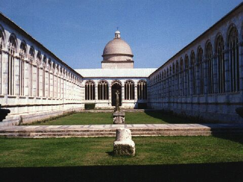 The cemetery area near the leaning tower in pisa